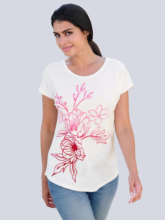 Alba Moda Strandshirt mit Flockprintmotiv, Weiß