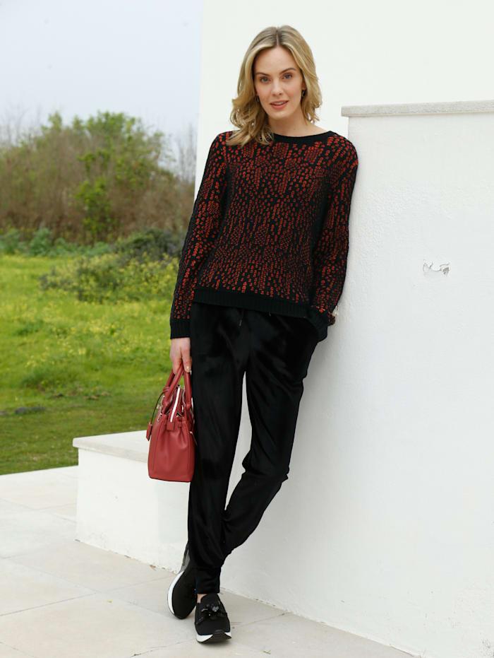 AMY VERMONT Pullover in zweifarbiger Optik, Schwarz/Rot