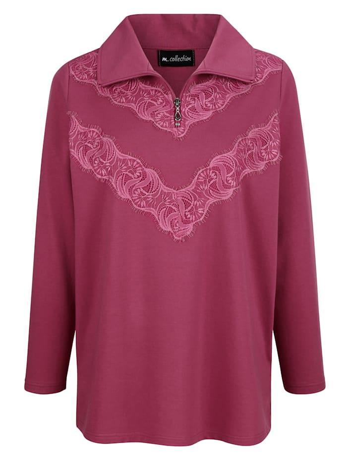 m. collection Sweatshirt med spets fram, Cerise