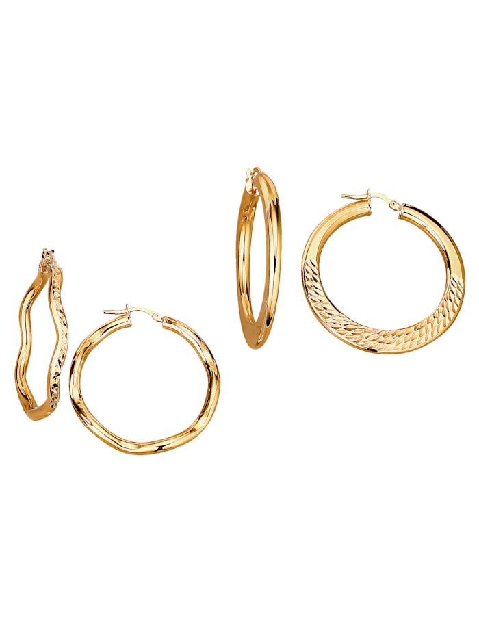 Golden Style 2 paar creolen, Geel
