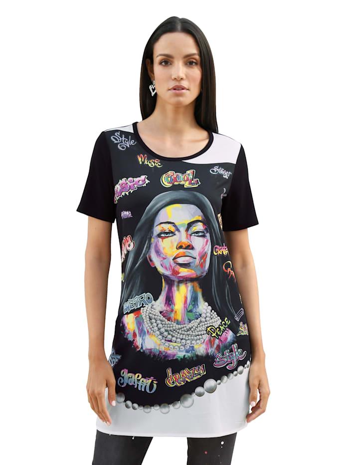 AMY VERMONT Longshirt mit buntem Motiv im Vorderteil, Schwarz/Multicolor