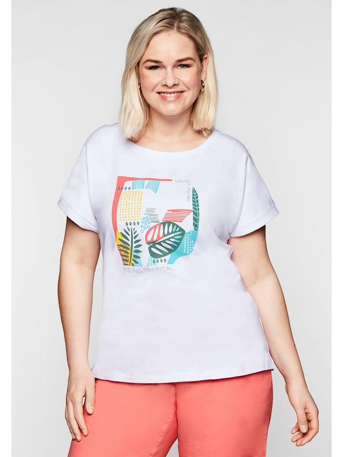 Sheego T-Shirt mit lässig überschnittenen Schultern, weiß