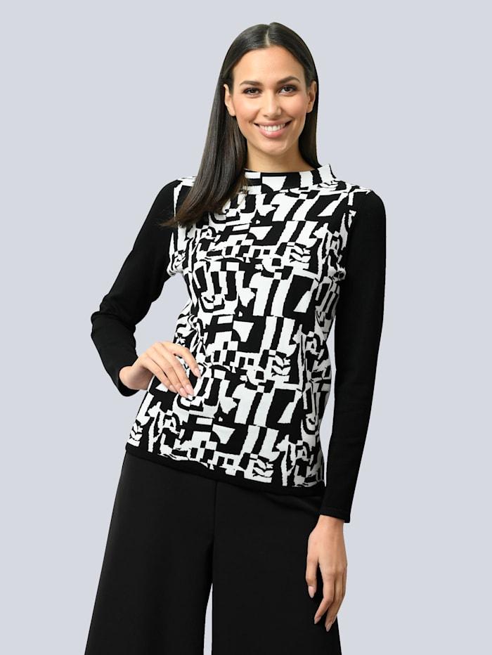 Alba Moda Pullover mit grafischem Jacquardstrick, Schwarz/Weiß