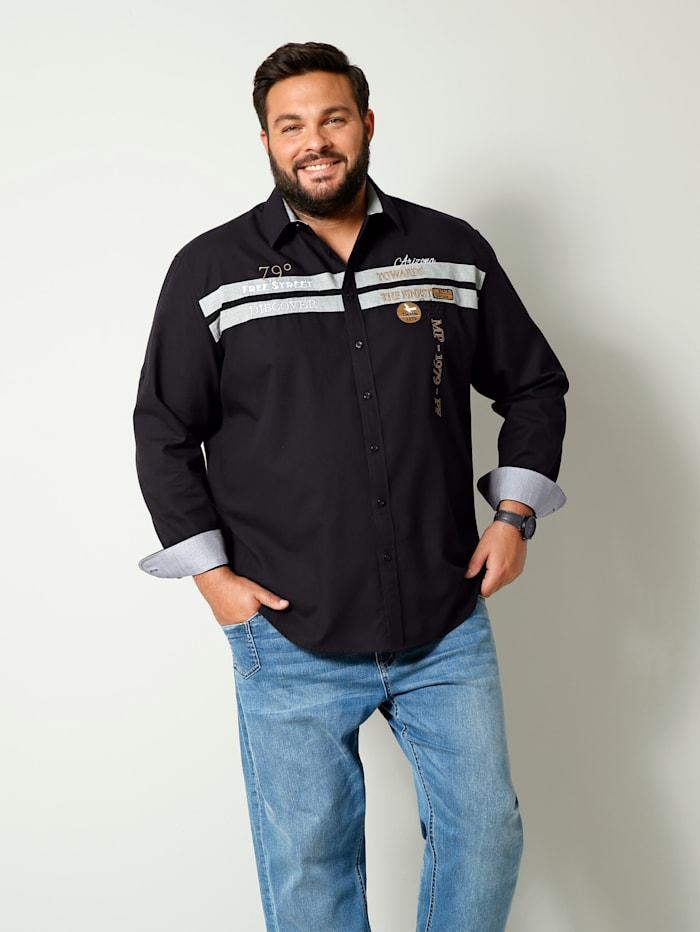 Men Plus Overhemd van zuiver katoen, Zwart/Cognac