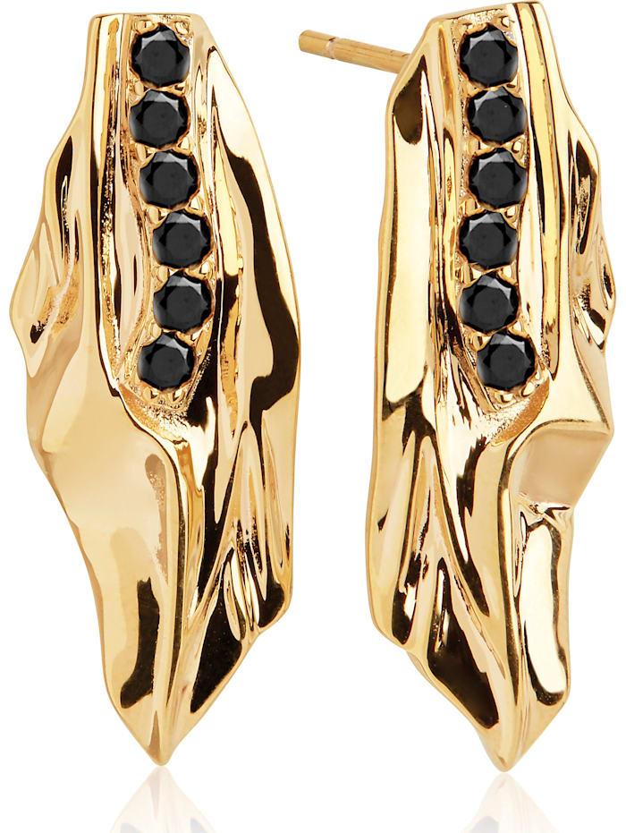 Sif Jakobs Sif Jakobs Jewellery Damen-Ohrstecker 925er Silber Zirkonia, gold/schwarz