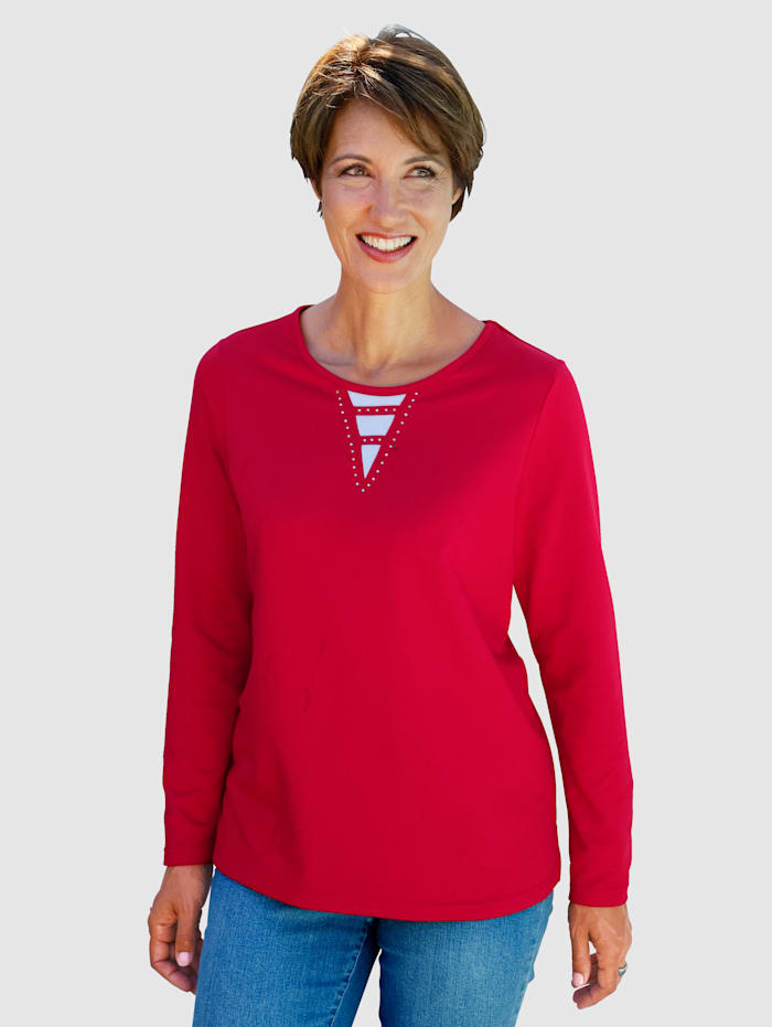 Paola Sweat-shirt orné de strass, Rouge