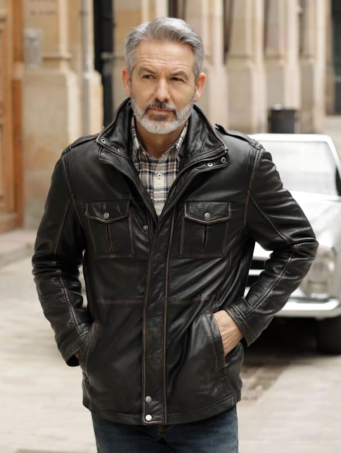 BABISTA Leren jas in lichte used look, Donkerbruin