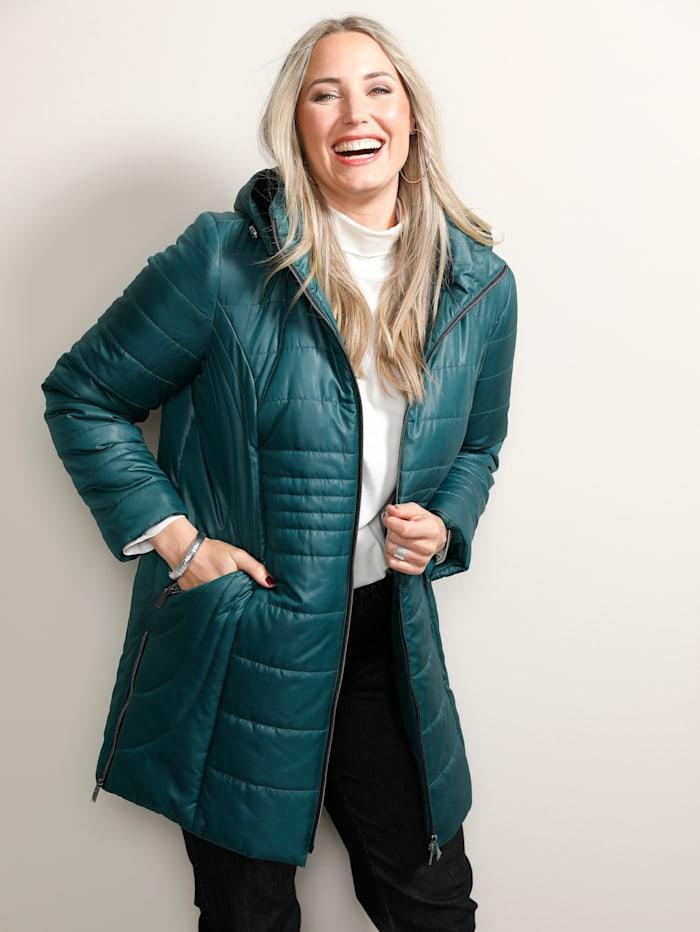 MIAMODA Prošívaný kabát s měkkou kontrastní teddy kožešinkou v kapuci, Tmavá zelená