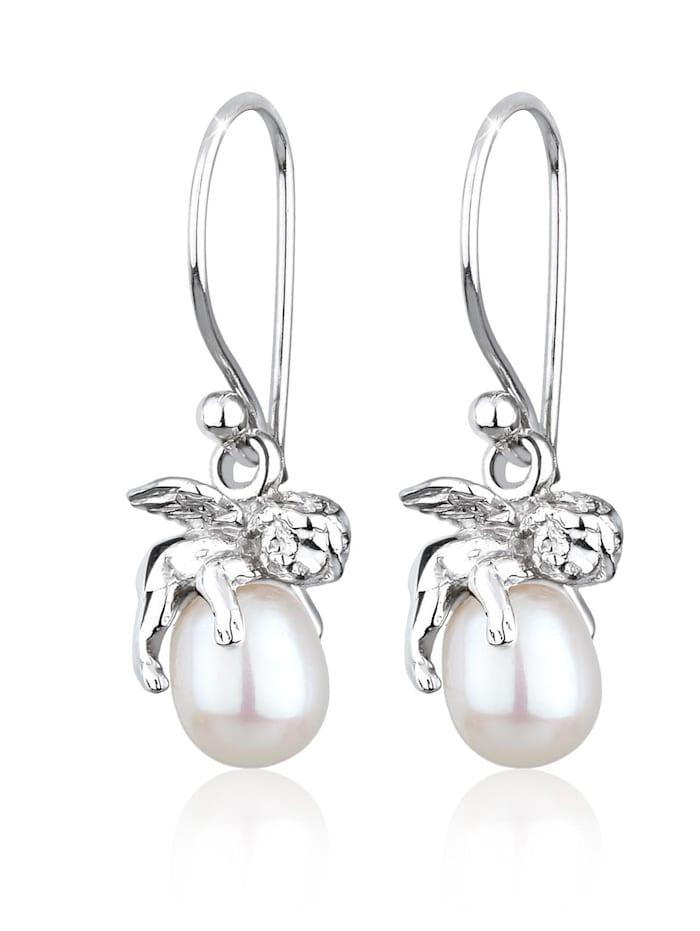 Elli Ohrringe Engel Schutzengel Süßwasserzuchtperle Silber, Weiß