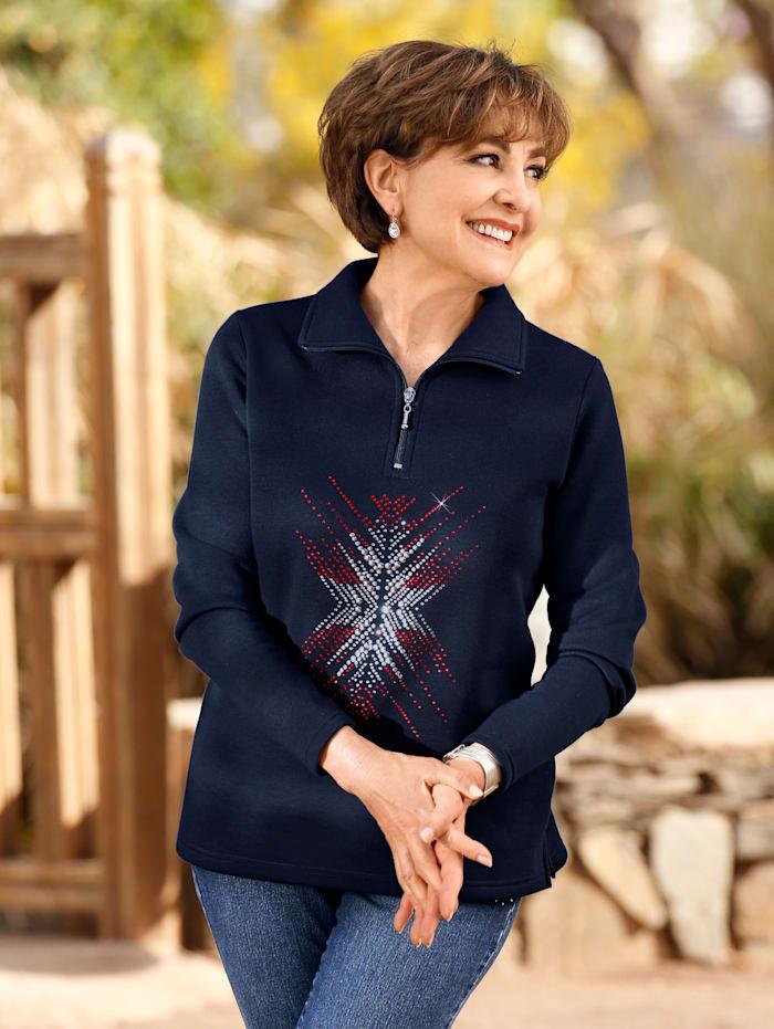 Paola Sweatshirt mit aufwändiger Strasssteindekoration, Marineblau