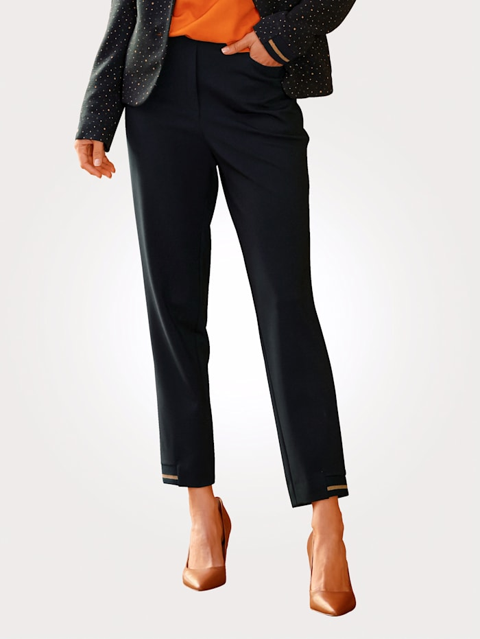 MONA Cropped jersey trousers with contrast detailing, Navy/Copper