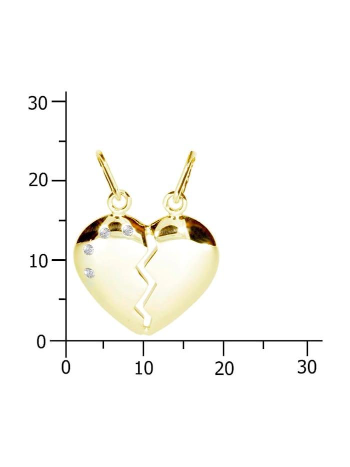 Anhänger - geteiltes Herz - Silber 925/000, vergoldet - Zirkonia