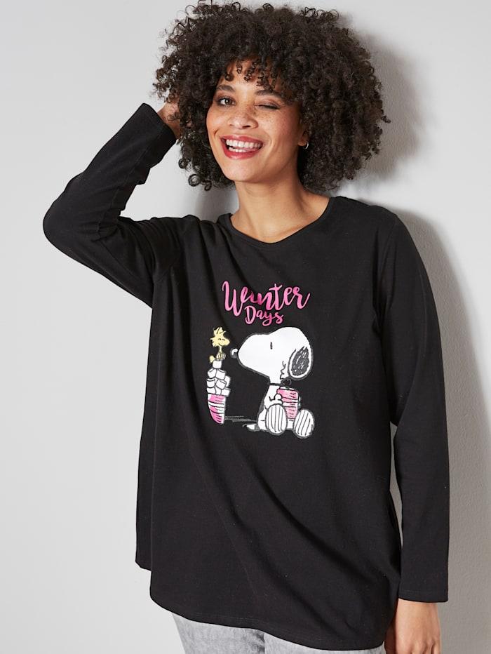 Angel of Style Shirt met coole Snoopy-print, Zwart