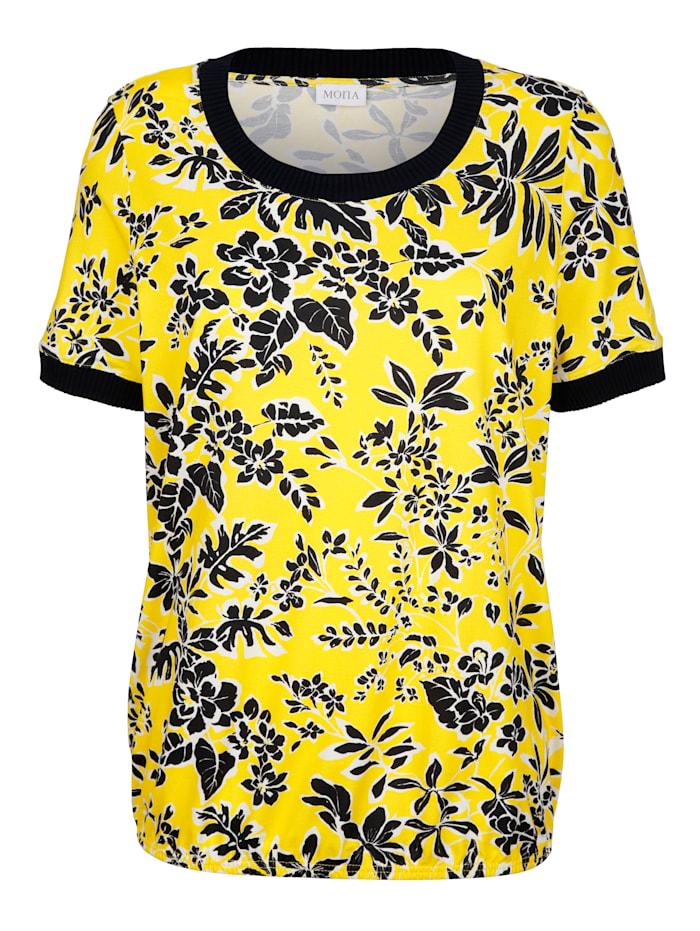 Shirt mit Blätterdruck in sommerlichem gelb und marine