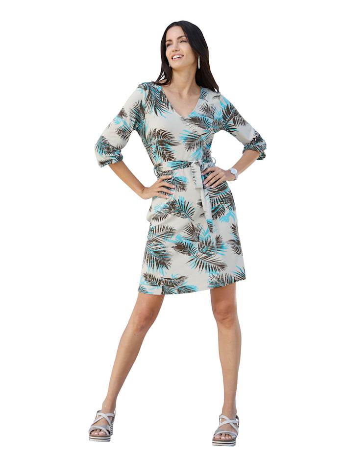 AMY VERMONT Kleid mit Palmendruck allover, Off-white/Hellblau