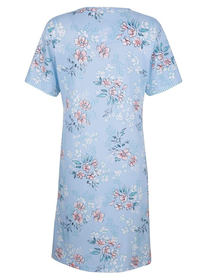 Chemise de nuit avec passepoils rayés