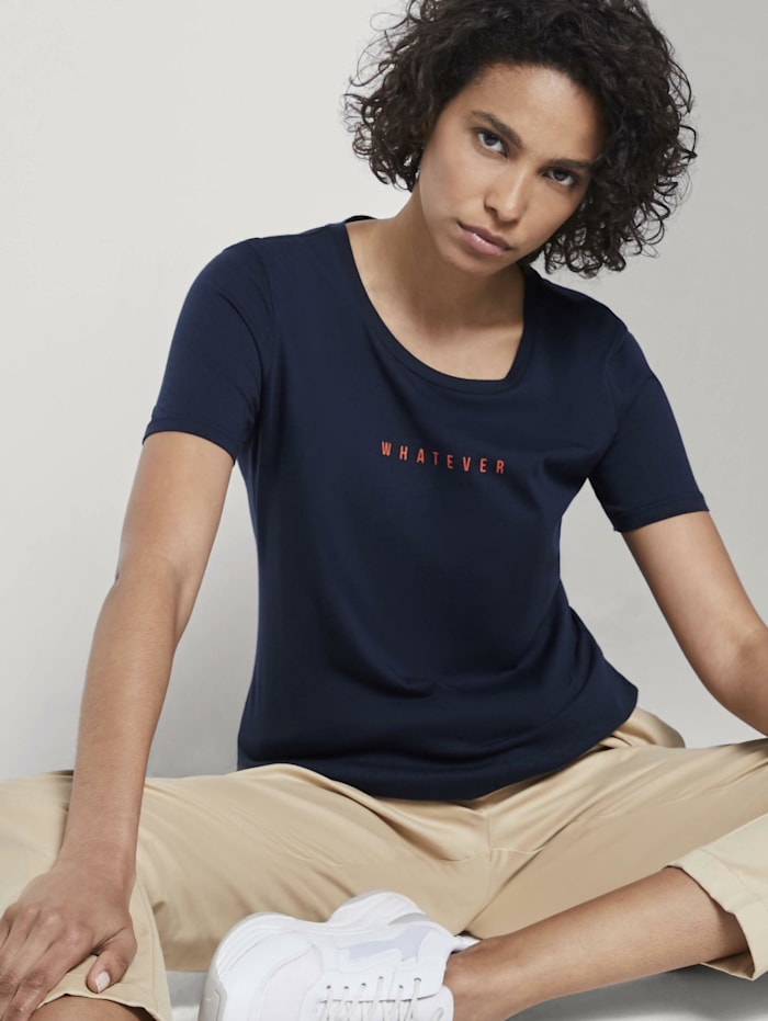 Tom Tailor mine to five T-Shirt mit Schrift-Print, Sky Captain Blue