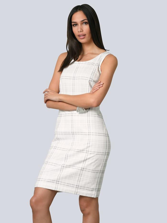 Alba Moda Kleid aus leicht aufgerauhter Ware, Wollweiß/Grau