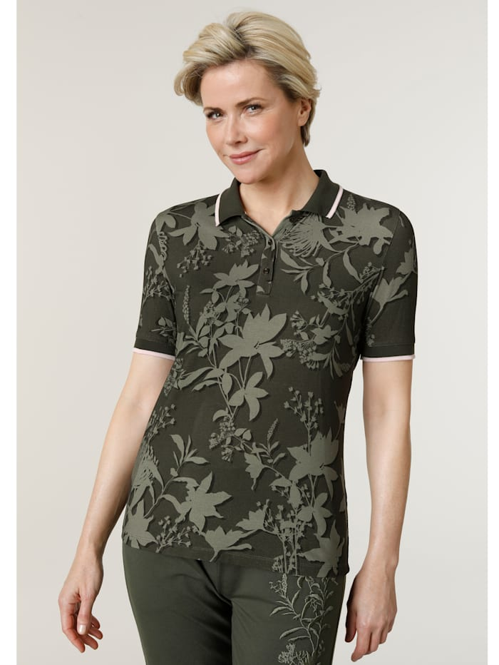 MONA Poloshirt mit angenehmem Strickkragen, Oliv/Khaki