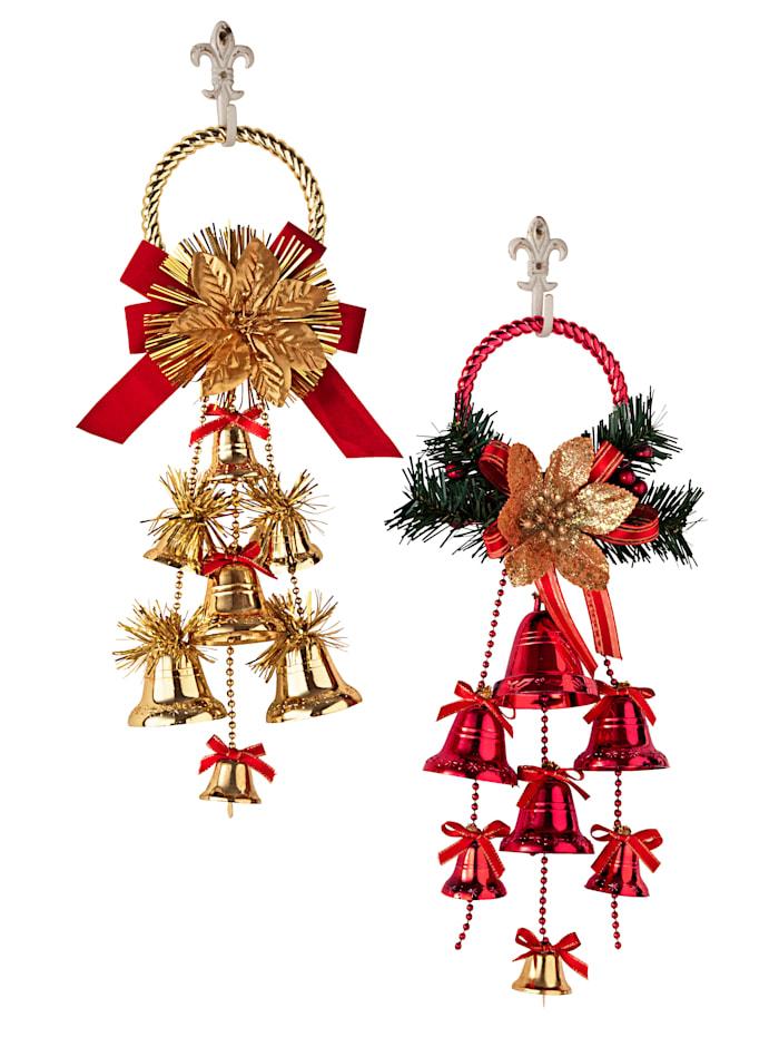 Juldekoration, guldfärgad/röd