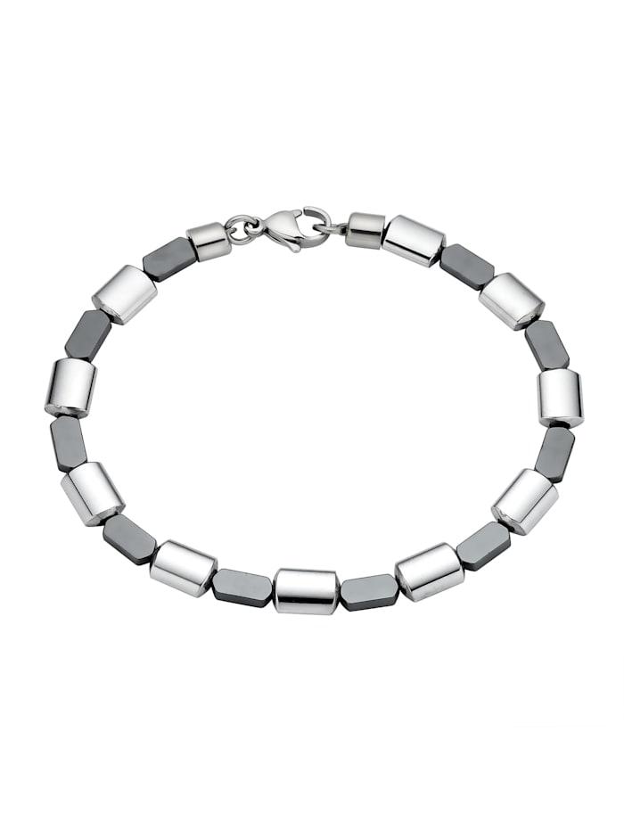 ZEEme Armband Edelstahl 19cm Glänzend, Silbergrau