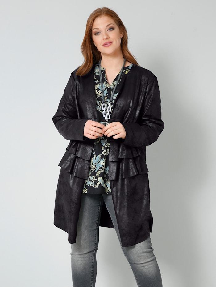 Sara Lindholm Dlhá bunda s imitáciou velúrovej kože, Čierna