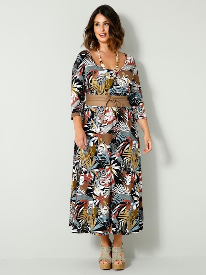 Sara Lindholm Jersey jurk met elastische deelnaad in de taille, Zwart/Okergeel/Groen