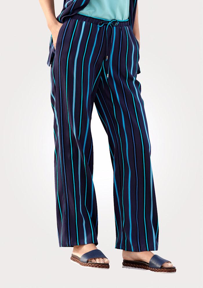 MONA Schlupfhose mit gewebten Streifen, Marineblau/Türkis