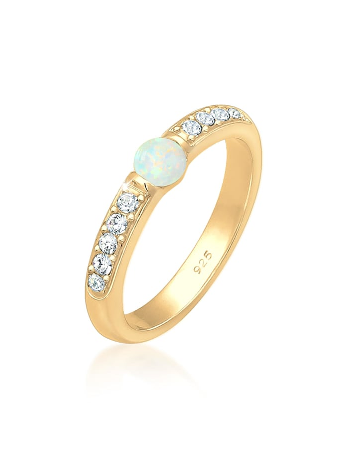Elli Premium Ring Opal Kristalle 925Er Sterling Silber, Gold