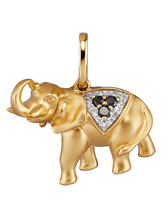 Elefanten-Anhänger, Gelbgoldfarben