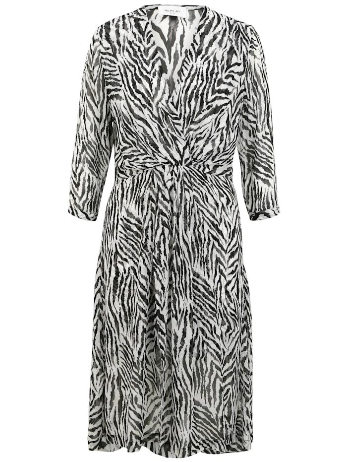 REPLAY Sommerkleid mit Animal-Muster, black/white