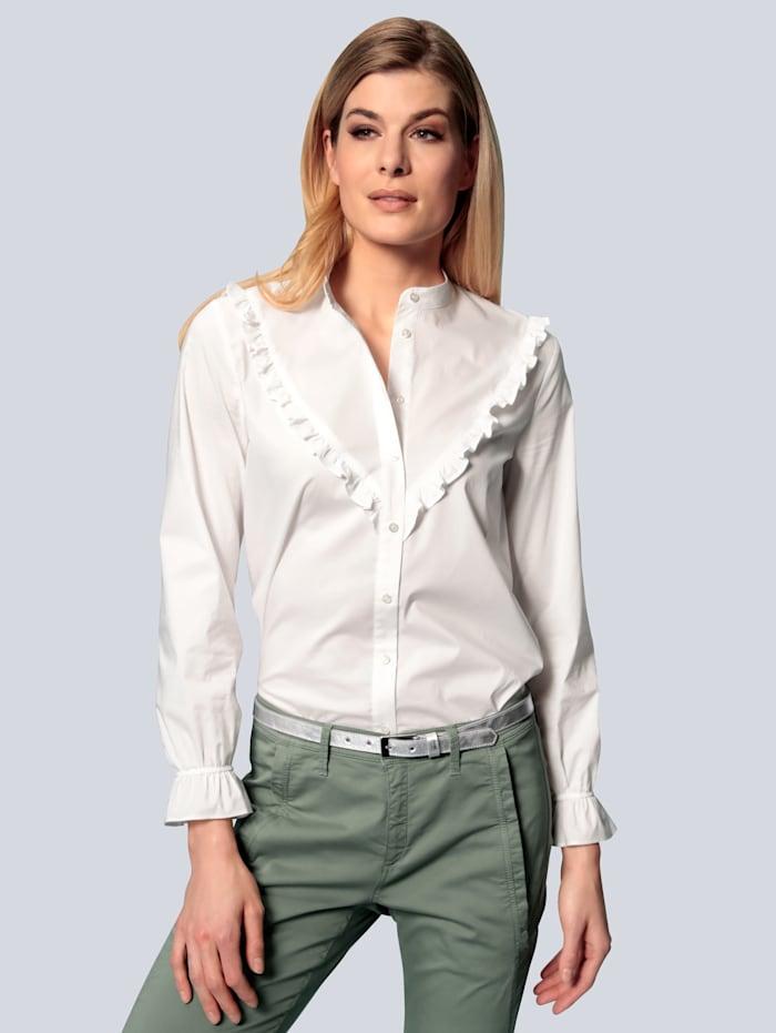 BRAX Bluse mit Rüschen, Weiß