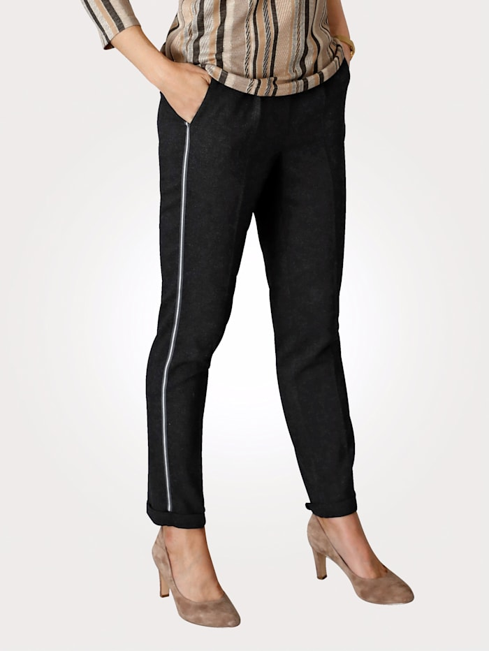 MONA Pull-on trousers made from soft faux wool, Anthracite