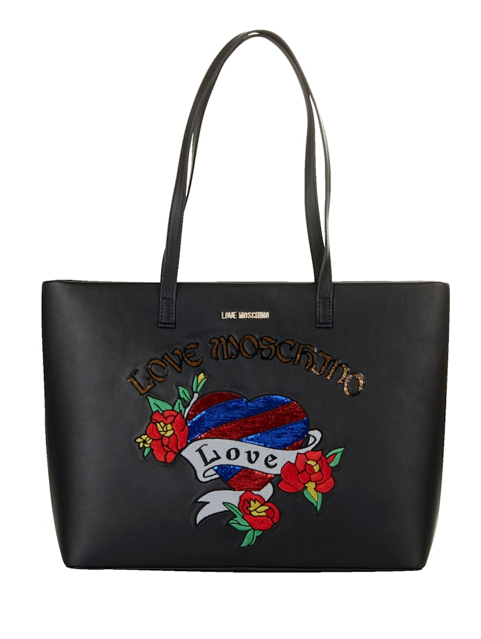 LOVE MOSCHINO Shopper mit Pailletten und Patches, schwarz