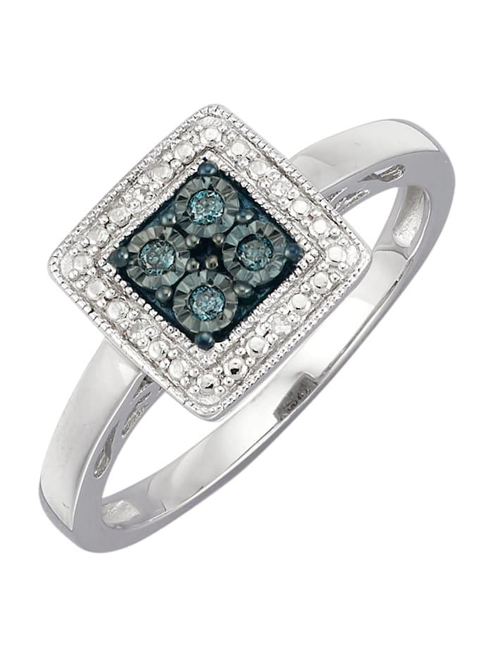 Diemer Trend Hopeinen timanttisormus, Sininen