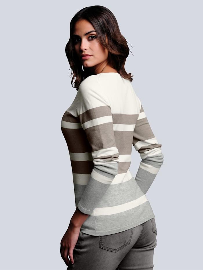 Pullover im sportiven Streifendessin allover