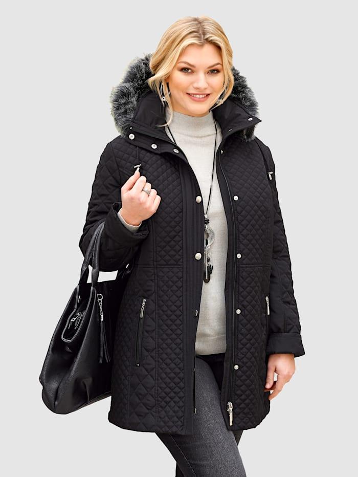 m. collection Gewatteerde jas met afneembare capuchon, Zwart