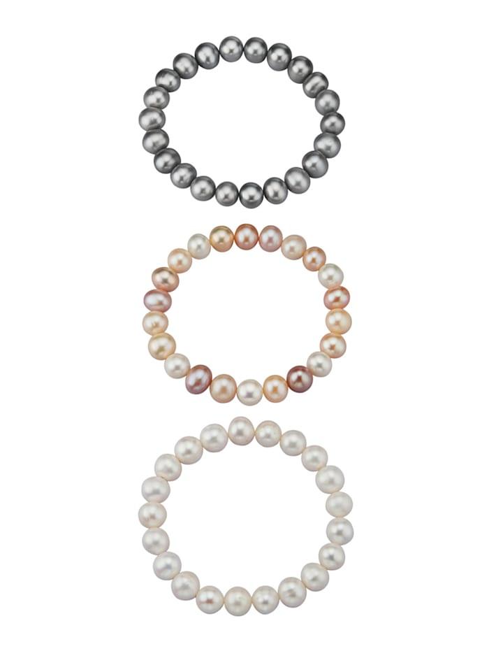 Amara Perles Ensemble de 3 bracelets avec perles de culture d'eau douce, Multicolore