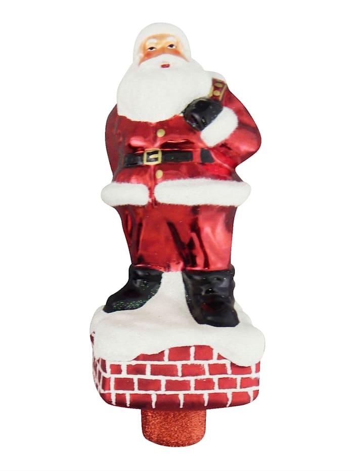 Krebs Glas Lauscha Christbaumspitze 'Santa auf Schornstein', Rot