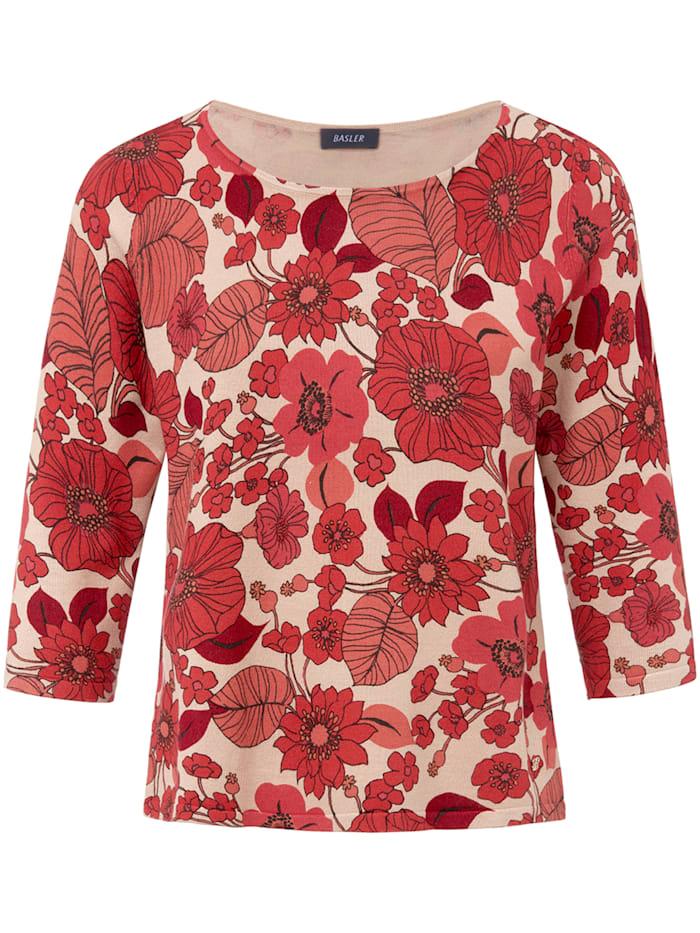 Basler Pullover mit Allover-Muster und ¾-Ärmeln, sand multicolour