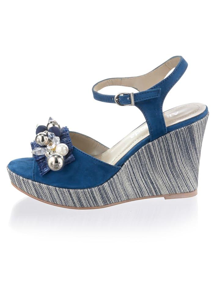 Sandales compensées avec perles et pierres fantaisie