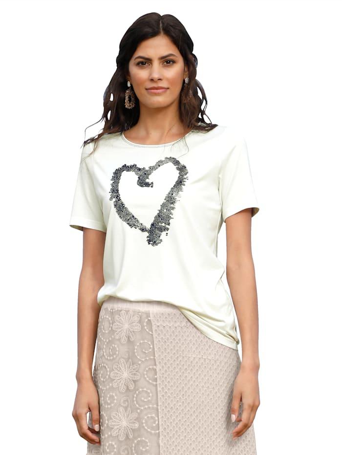 AMY VERMONT Shirt mit dekorativen Steinchen im Vorderteil, Off-white/Silberfarben