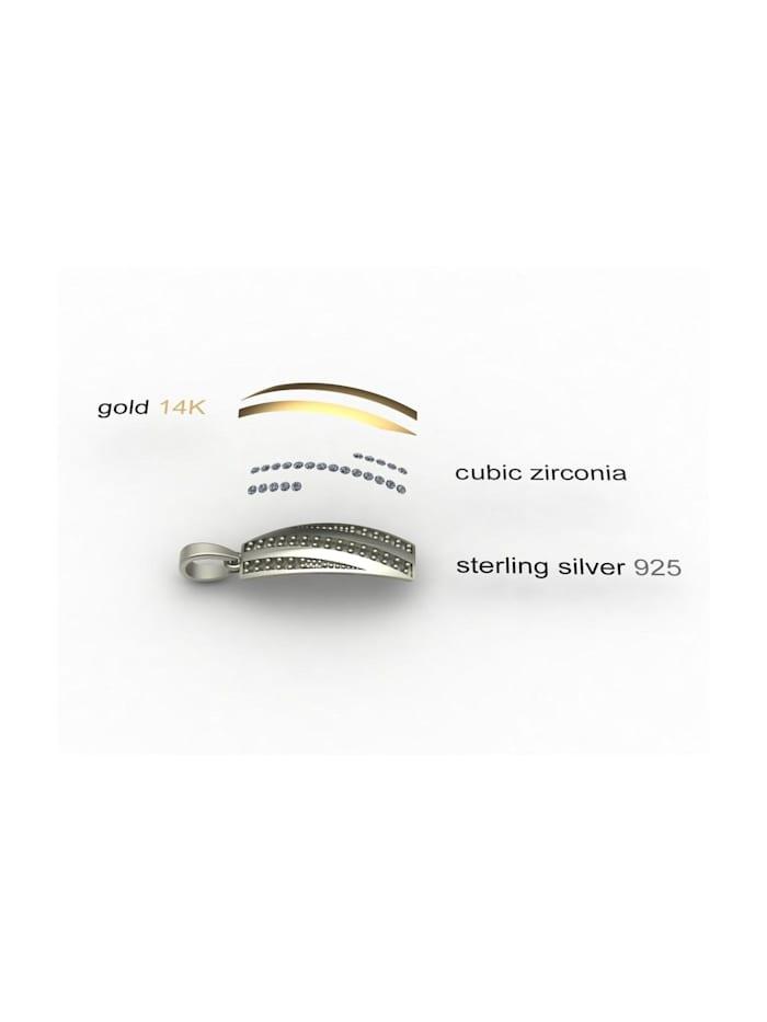 Kette mit Anhänger - Sunny Exklusiv - Silber 925/000 & Gold 585/000 - Zirkonia