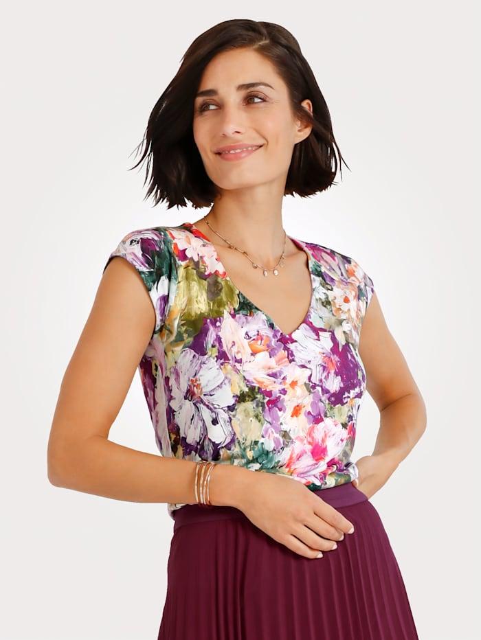 MONA Shirt mit floralem Druck, Fuchsia/Multicolor
