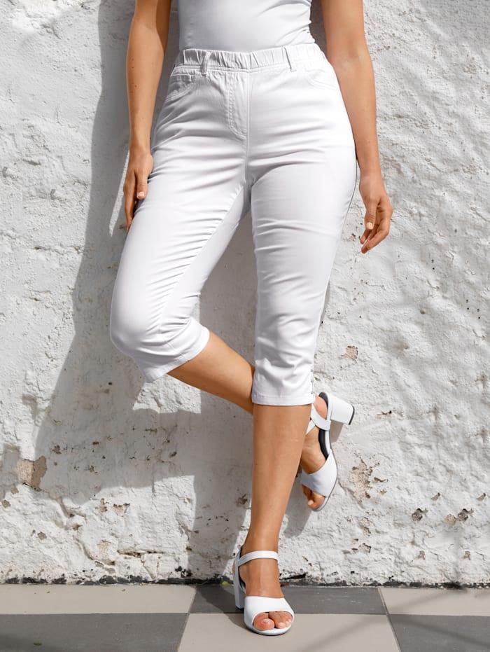 MIAMODA Corsaire à ceinture élastiquée, Blanc