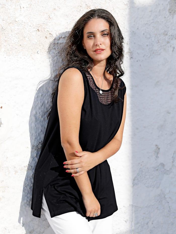 MIAMODA Longtop mit femininem Ausschnitt, Schwarz