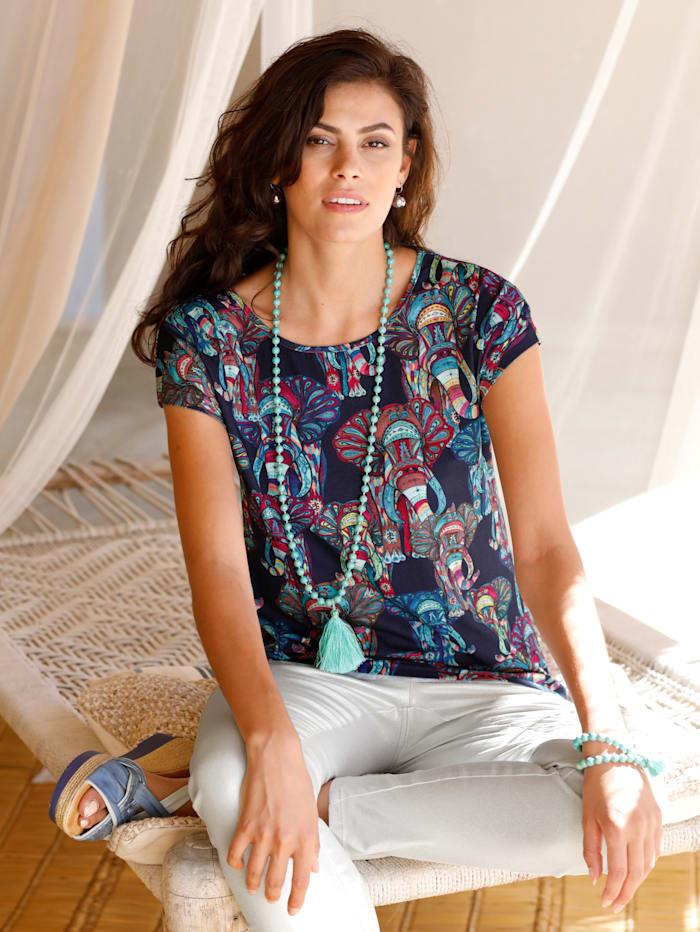 AMY VERMONT Shirt mit Elefanten-Druck, Marineblau/Petrol/Fuchsia