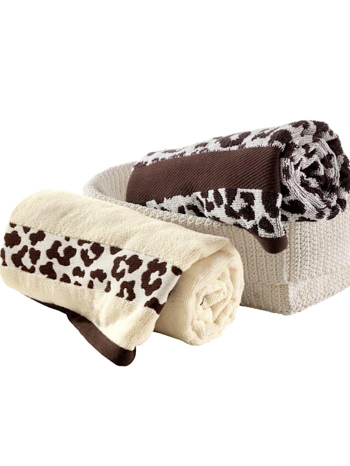 2 handdukar med leopardmönster, Beige/brun