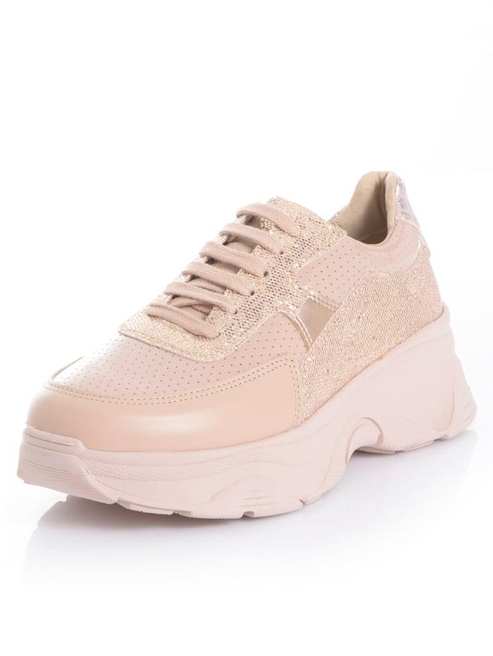 Alba Moda Sneaker met glitterinzetten, Nude
