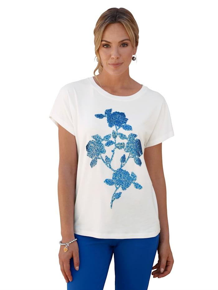 AMY VERMONT Shirt met pailletten voor, Wit/Blauw